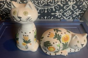 2 Porcelain Cats with Flower Pattern for Sale in Seattle, WA