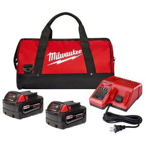 Milwaukee M18 18-Volt Lithium-Ion XC Starter Kit with Two 4.0 Ah Batteries, Charger and Contractor Bag for Sale in Stickney, IL