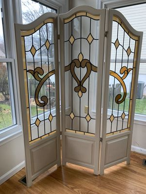 """Wooden glass three panel screen 70""""H folding room divider for Sale in Fairfax, VA"""