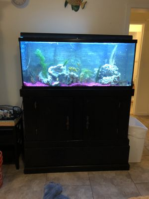 55g tank with stand, lights & filtration equipment. PICKUP IN LAIE for Sale in Haleiwa, HI