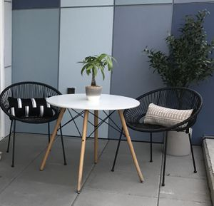 Designer White Wooden Table with Black Chairs (kitchen/patio) for Sale in San Francisco, CA