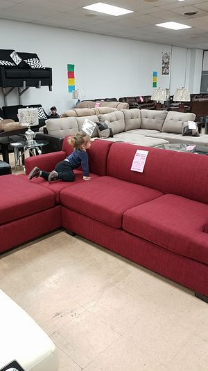 Red fabric sectional sofa couch for Sale in Baltimore, MD