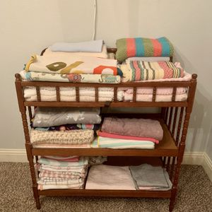 Dark Brown Wood Spindle Changing Table Nursery for Sale in Burleson, TX