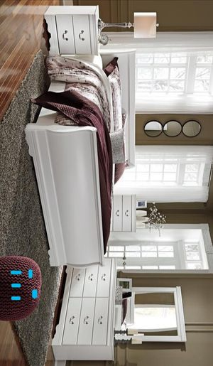 Anarasia White Panel Bedroom Set | B129 Queen and King size bed frame Dresser Mirror Nightstand for Sale in Houston, TX