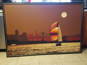 70's Vintage Letterman 'Moonlit Sailboat in San Francisco Bay' for Sale in Framingham, MA