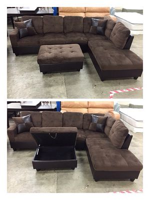 Brand New Brown Microfiber Sectional w/storage ottoman for Sale in Portland, OR