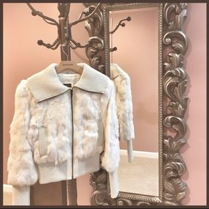 Gorgeous Bebe white rabbit fur jacket size small for Sale for sale  New York, NY