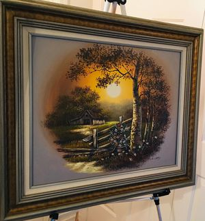 Beautiful Landscape original oil painting by L. LRRY; Elegant wood frame; H28xW31 inch for Sale in Chandler, AZ
