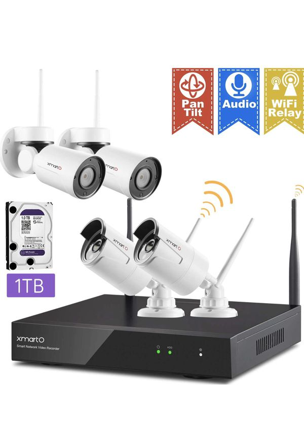 XMARTO [Expandable 8CH] Wireless Security Camera System, 2pc WiFi [PTZ Cameras Outdoor] + 2pc Bullet IP Cameras for Home Surveillance, 8CH 1080p NVR