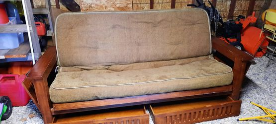 Brown wooden 6 ft. Futon for Sale in Tiskilwa,  IL