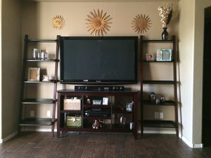 TV Stand and Ladder Shelves (tv & accessories not included) for Sale in Maricopa, AZ