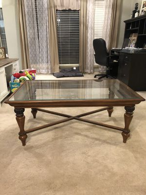 Wooden glass coffee table for Sale in Rowlett, TX