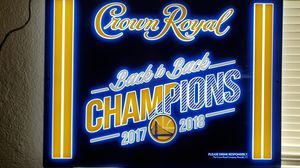 Golden state warrior's sign hanging wall art man cave glass LED light for Sale in Madera, CA