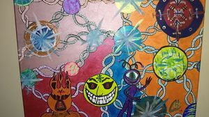 """Original 16x20 """"Dream System"""" by ceL acrylic painting on stretched wrap around canvas for Sale in Lynchburg, VA"""
