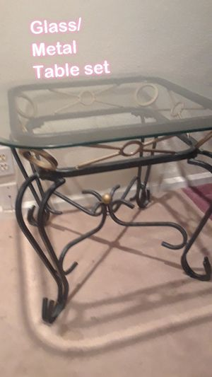 2 end tables ..Heavy glass/ metal table set OBO for Sale in Austin, TX