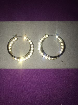 Beautiful Stimulated Diamond Hoop Earrings for Sale in North Ridgeville, OH