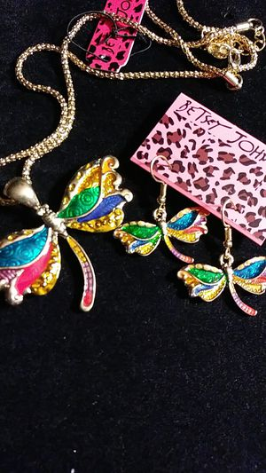 Betsey Johnson dragonfly necklace / earrings for Sale in Fresno, CA