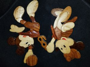 Vintage Disney Mickey Mouse Painter Art Wall Decoration Wood Intarsia Marquetry for Sale in Orange, CA