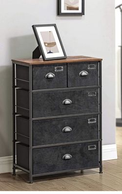 Fabric Drawer Dresser, Storage Dresser Tower with 5 Drawers, Labels, Wooden Top, Industrial Style Closet Storage, for Living Room for Sale in Rancho Cucamonga,  CA