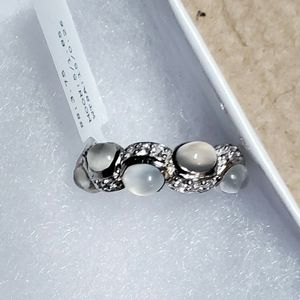 New Women's Lorenzo Solid Sterling Silver Real Moonstone & White Sapphire Ring Size 5 for Sale in Black Diamond, WA