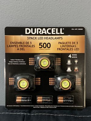 DURACELL 3Pack LED Headlamps 500 Lumens for Sale in Westminster, CA