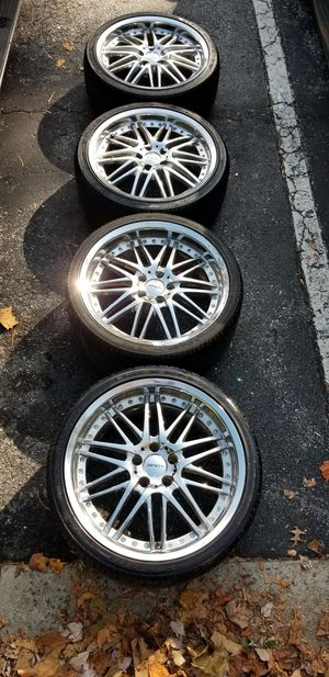 4 19in 5x120 5x4.72 zenetti chrome wheels rims and tires for Sale in Germantown, MD
