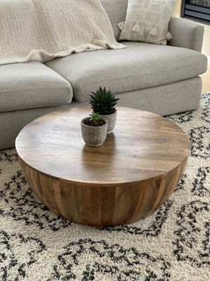 Poly&Bark Goa wood Drum Coffee table for Sale in Portland, OR