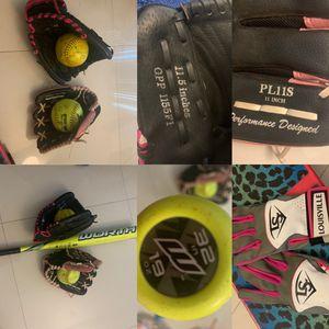 Softball gloves , bat, and balls for Sale in Miami Beach, FL
