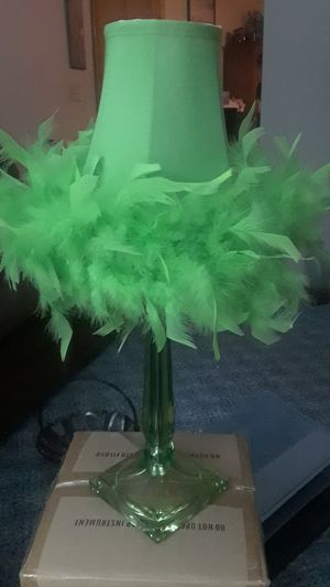 Green Table Lamp with Feather Shade for Sale in West Lafayette, OH