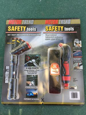 Motor Trend Safety Tools Kit 12 V rechargeable flashlightNew Motor Trend safety tools kit- comes with 12 V rechargeable flashlight with two USB port for Sale in Bloomington, CA