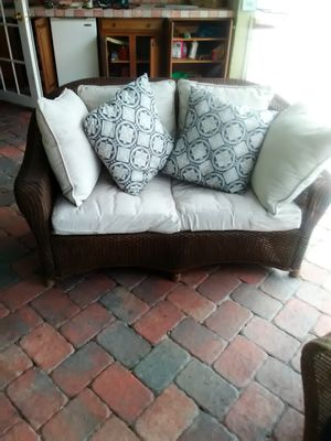 Ornate wicker couch with pillows for Sale in West Palm Beach, FL