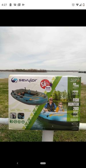 New in box inflatable fishing boat. HEAVY DUTY for Sale in Flower Mound, TX