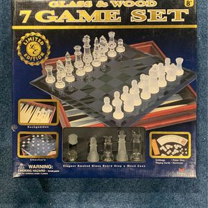 Glass And Wood 7 Game Set for Sale in Monroe Township, NJ