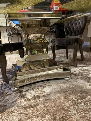 Mirrored Dining table base and glass table top for Sale in Laguna Beach, CA