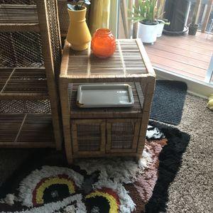 Vintage Woven Wicker Side Table for Sale in Seattle, WA