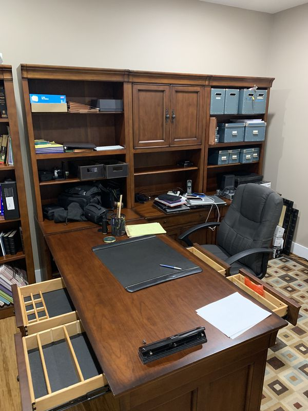 Solid wood desk, credenza and bookshelf $1500 Reasonable Offers Considered