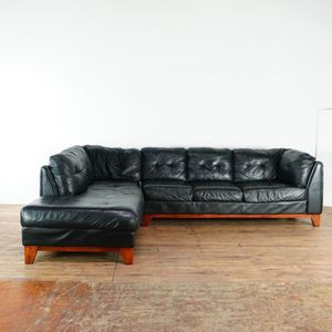Mid Century Modern Style Black Leather Upholstered Sectional Sofa (1020272) for Sale in South San Francisco, CA