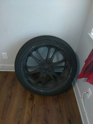 Black 24in rims and tires for Sale in Kansas City, MO