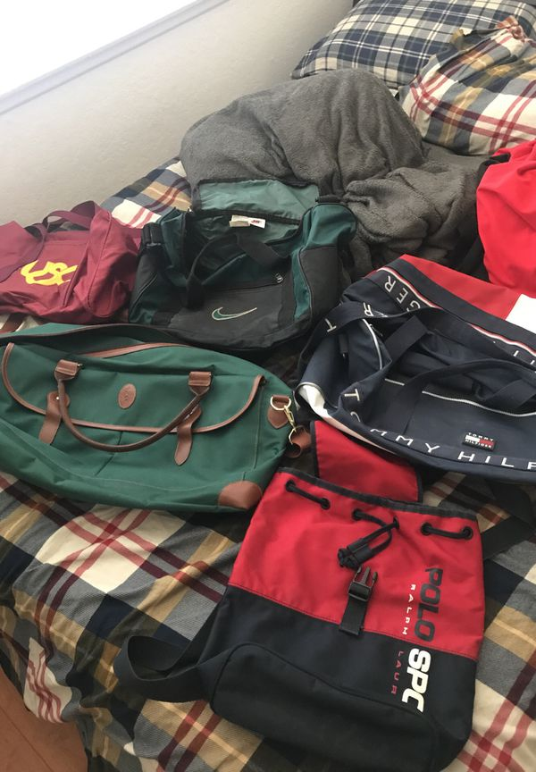 Vintage duffle bags luggage backpack Nike polo sport Ralph Lauren Tommy Hilfiger usc