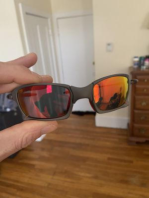 Oakley x squared metal titanium sunglasses Ruby red rubbers custom SKU Serial 6011-06 for Sale in Chelmsford, MA