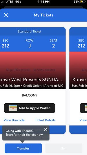 2 Kanye West Sunday Service Tickets For Sale! for Sale in Chicago, IL