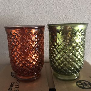 Glass Candle Holders-Set of 2 for Sale in Katy, TX