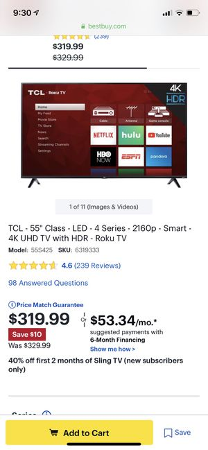 TCL 55 inch TV with Roku for Sale in Wilsonville, OR