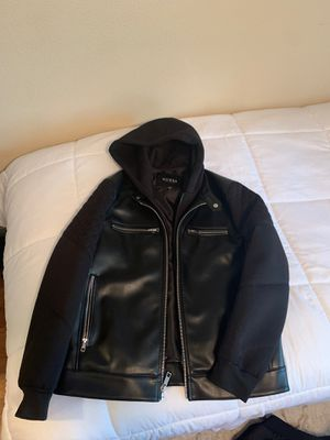 Large black leather jacket with hoodie for Sale in Sherwood, OR