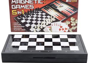 "5 in 1 Magnetic Travel Chess, Checkers, Dominoes, Backgammon, Cards Set 9.8"" x 9.8"" Mini Board Games for Sale in Edison, NJ"
