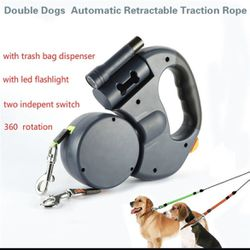 Dual Dog Lashes With Flash Light, Bags Storage for Sale in Charlotte,  NC