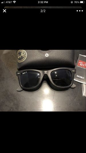 Ray Ban Black Leather Wayfarer Polarized Sunglasses for Sale in Westlake, MD