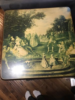 Antique card table w/ Victorian print for Sale in Germantown, MD