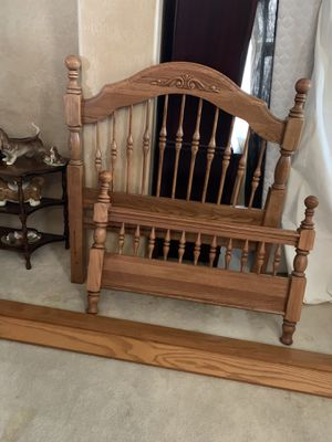 Solid oak wood twin bed frame with 2 piece twin mattress set included for Sale in Chandler, AZ