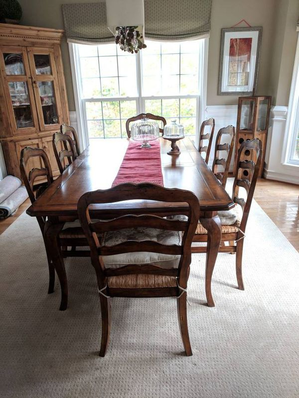 Provencal Chair Set of 8, Ladder Back Rush Seat Chairs